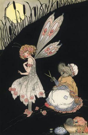 Fairy Dressmake Linen Margaret Clark Card